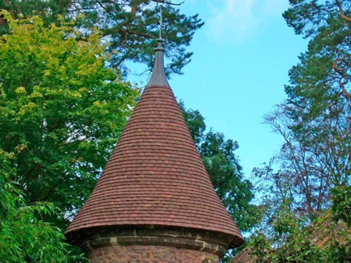 garden building re creation of conical tiled roof